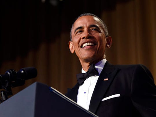 FILE - In this April 30, 2016 file photo, President Barack Obama speaks at the annual White House Correspondents' Association dinner at the Washington Hilton in Washington.  The annual White House Correspondents' Association dinner — traditionally the most-glittery night on the Washington social calendar, where A-list celebrities sprinkle their stardust as coveted guests of media organizations — will have a different vibe this year. So as opposed to last year, when guests at President Barack Obama's final dinner included Watson, Washington and Helen Mirren, this year's big stars seem to be Bob Woodward and Carl Bernstein.