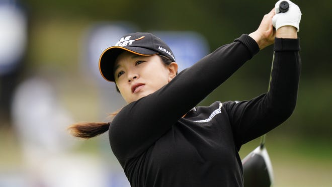 Sei Young Kim watches her tee shot on the 12th hole during the final round of the KPMG Women's PGA Championship on Sunday.