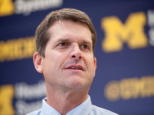 Jim Harbaugh joins Michelle Obama at education event