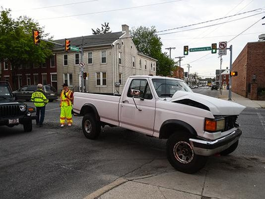 A two-vehicle crash at 6:55 a.m. on Tuesday, May 5, on Baltimore Street at West Middle Street in Hanover Borough.