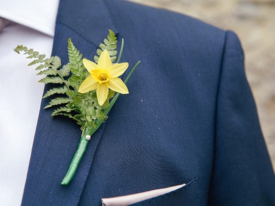 Daffodil and Fern Boutonniere