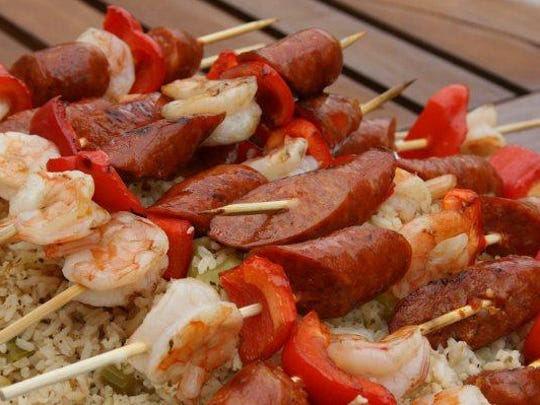 Andouille sausage, red bell peppers and shrip skewers.