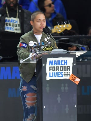 Marjory Stoneman Douglas High School student Emma Gonzalez speaks during the March for Our Lives Rally in Washington on March 24, 2018.