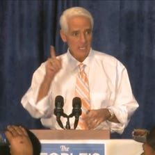 Charlie Crist speaks at a Democratic rally in Orlando on Thursday.