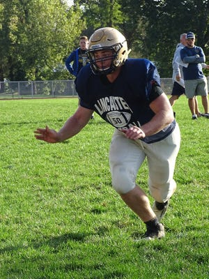 Lancaster senior captain Luke Sheridan leads the Golden Gales in sacks and tackles for loss. Lancaster will host Gahanna on Friday.