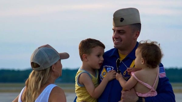 This photo of Marine Capt. Jeff Kuss and his family is from the Go Fund Me account that has been set up by his family. The International Council of Air Shows Foundation is also donating funds to the family.
