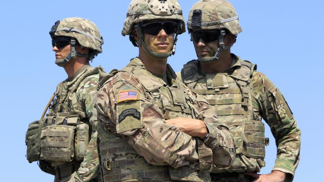 US soldiers take part in NATO-led Noble Partner 2017 multinational military exercises at the military base of Vaziani, outside Tbilisi, Georgia, Wednesday, Aug. 9, 2017. The Noble Partner 2017 exercises involve NATO members and partner countries: Georgia, USA, UK, Germany, Turkey, Slovenia, Armenia and Ukraine.
