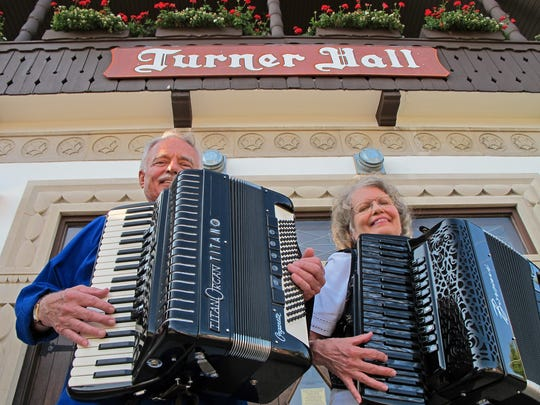 The duo of John Waelti and Bobbie Edler are regular performers on the accordion in southwest Wisconsin.