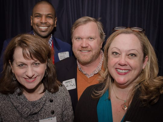 Several former members of Leadership Montgomery's Legacy Class XXXI were among those enjoying a recent Alumni Reunion Party at Kat n' Harri's, including, from left,  Lenore Vickery, Ed Billingslea, Jeff Martin and Anna Pritchett.