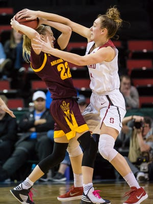 Mar 3, 2018: Stanford Cardinal forward Alanna Smith (11) guards Arizona State Sun Devils guard/forward Courtney Ekmark (22) during the second half during the semifinals of the PAC-12 Women's Basketball Tournament at KeyArena.
