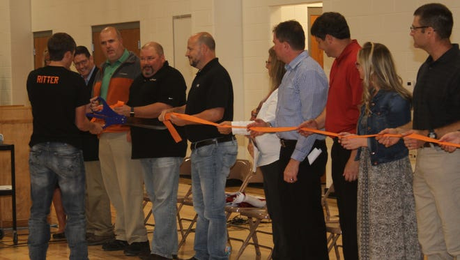 Iowa Valley Elementary School new gym ribbon cutting Wednesday, Oct. 18, at the elementary school in Marengo.