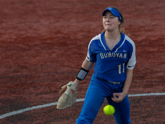 Donovan Catholic pitcher Lindsay Nelson. Donovan Catholic softball defeats St John Vianney 13-4 in Shore Conference Final in Red Bank NJ. on June 4, 2018.