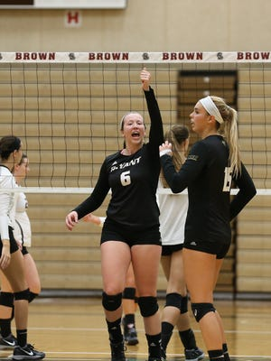 Oconto native Sara DePouw (No. 6) came back from two ACL tears in her left knee to record 250 kills for the Bryant University women's volleyball team during her senior season.