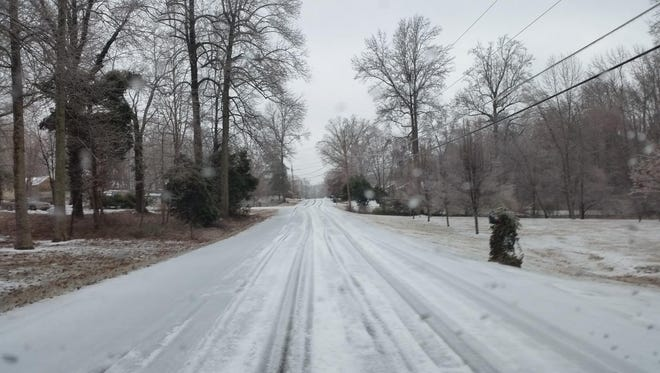 An iced over back road from earlier in the week in Dickson County.