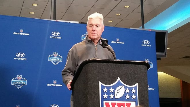 Packers general manager Ted Thompson addresses the media at the 2016 NFL scouting combine in Indianapolis.