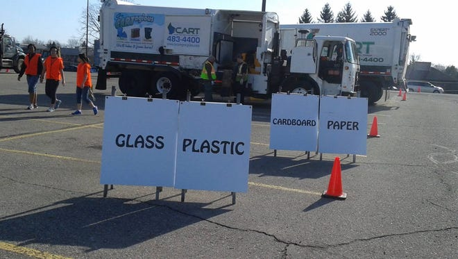 Signs designate the different stations at the 2015 Recycle Rama.