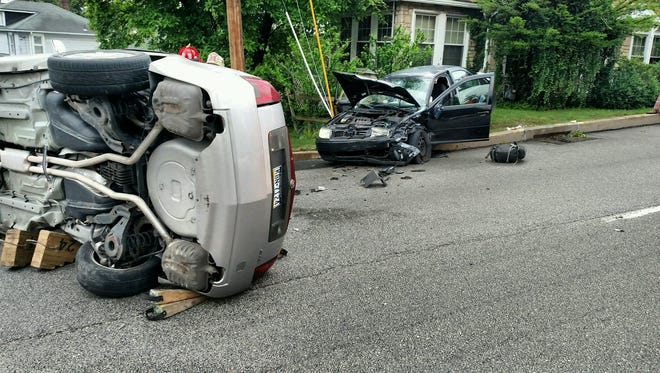 At least two vehicles were involved in a crash around 5 p.m. Friday at  North George Street and Wilson Avenue in Manchester Township.