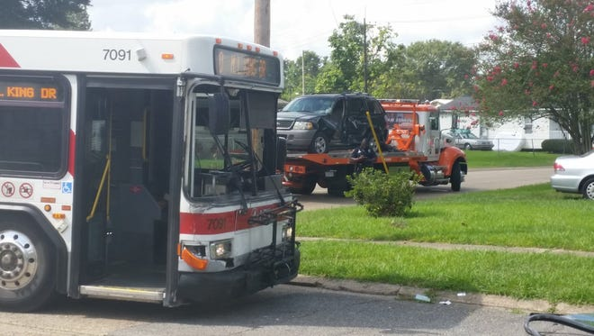 A bus and car collided in Lafayette