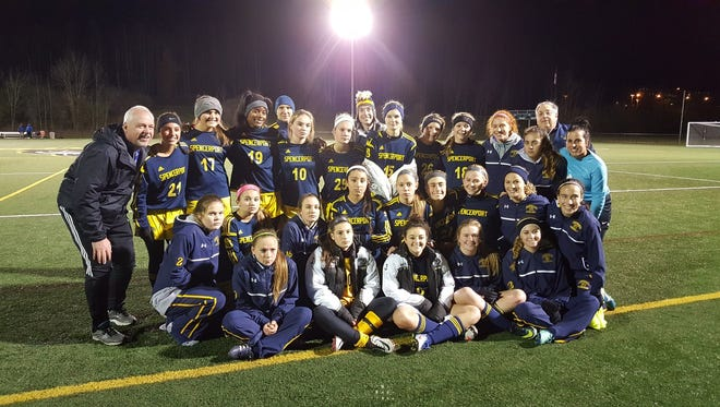 The Spencerport girls soccer team, shown here after Saturday's 6-0 win over Pearl River, plays Jamesville-DeWitt in Sunday's 11:15 a.m. Class A state soccer championship.