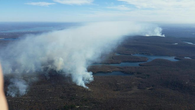 A view of the brush fires in Harriman State Park taken Monday from a helicopter.