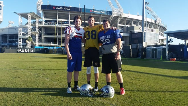 Roberson senior Cooper Graham, far left, kicked in the Jan. 14 Blue-Grey All-American Bowl in Jacksonville, Fla.
