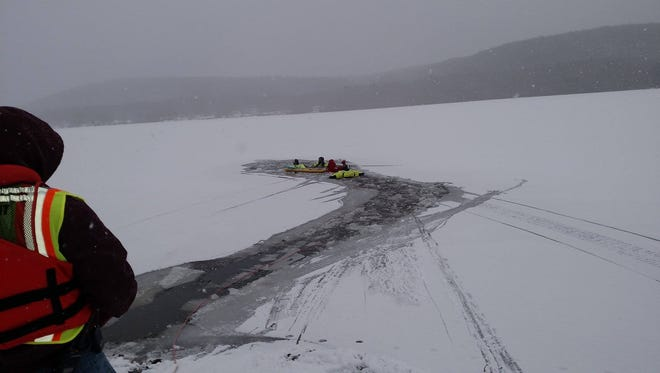 The Odessa Fire Department, Schuyler County Sheriff's Office and Schuyler Ambulance responded to an ice rescue Sunday on Cayuta Lake.