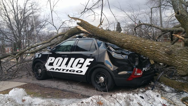 Antigo squad car is damaged from a fallen tree on March 7, 2017.