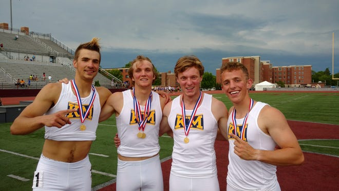 The Kettle Moraine 4x400-meter relay team of (from left) Ben Psicihulis, Sam DeLany, Chris Marshall and Jack Chard won the 2017 state championship.