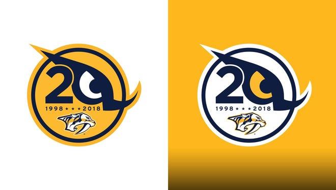 The Predators' 20th anniversary logo.