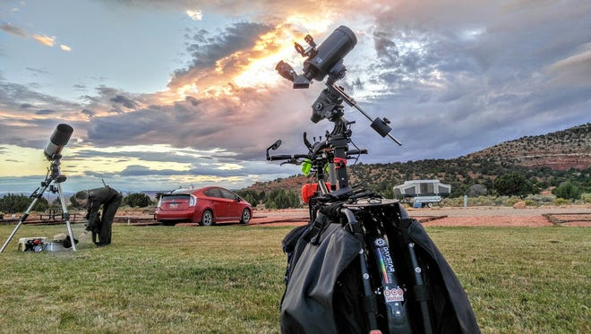 Gary Parkerson's bike, which he calls the Surly Big, sits in the Kaibab Paiute reservation in northern Arizona during a star party.