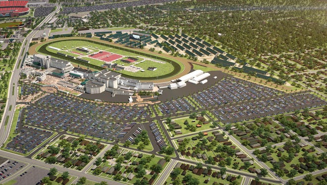 A rendering of the $32 million parking renovation planned for Churchill Downs.
