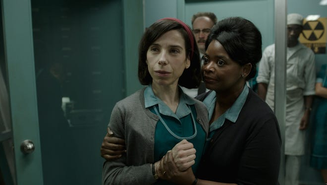"""Sally Hawkins, left, and Octavia Spencer play best friends who work as janitors in a mysterious lab in """"The Shape of Water."""""""