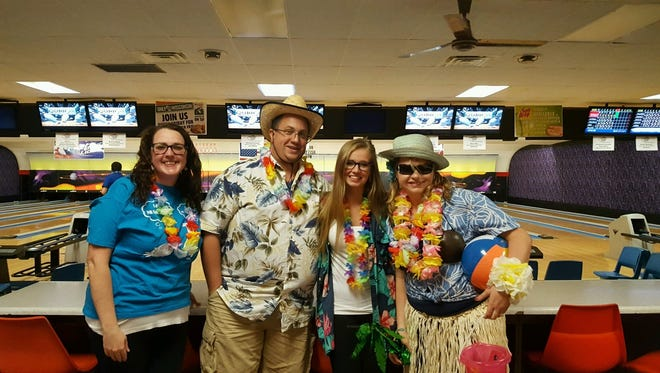 Pictured are participants at last year's Bowl for Kids' Sake, from left: Kerry Murphy, Steve Leaman, Madison Leaman and Anna Kottke.