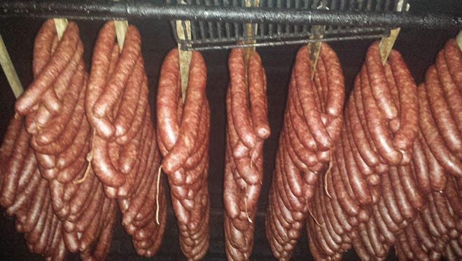 Test batches of kielbasa sausages that will be served at Friendly Nick's Butcher.