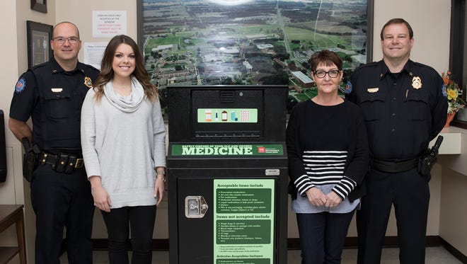 Pictured with the county's newest drug take-back box, located inside the UT Martin Department of Public Safety in Crisp Hall, are, from left: Lt. Charles Jahr; Suzanne Harper, director of the Weakley County Prevention Coalition; Dr. Deborah Gibson, UT Martin professor of health and human performance and a member of the Weakley County Prevention Coalition; and Scott Robbins, director of the Department of Public Safety.
