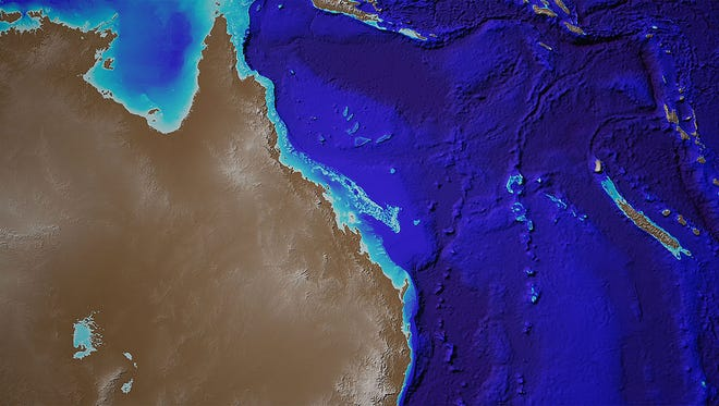 An undated handout photo made available by the Office of the Minister for Resources and Northern Australia on Jan. 19, 2018 shows  bathymetry data of the entire Great Barrier Reef, off northeastern Australia.