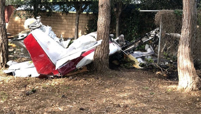 This is what was left of a plane that crashed Saturday afternoon outside Santa Paula, killing two people.