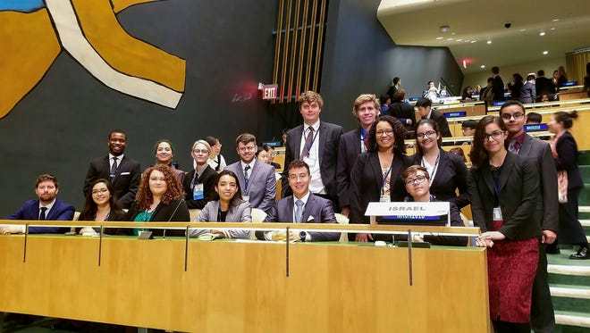 The 2018 Model UN team from New Mexico State University won the Outstanding Delegation at its conference in New York City. Pictured here is the team at the Hilton Hotel in Times Square.