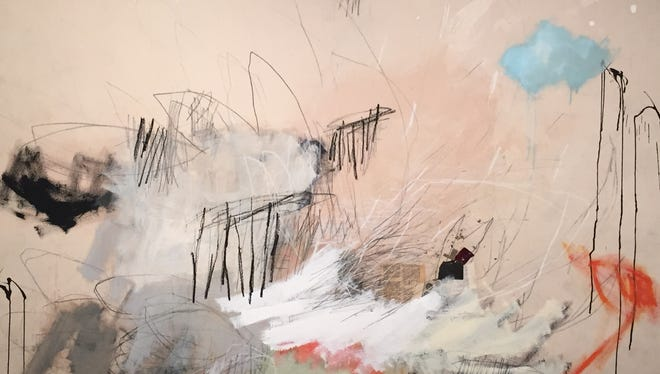 "Jason Craighead, ""Lightning Decade 1999-2009,"" mixed media on canvas."