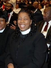 Bishop Mona Reide during a Pentecostal Assemblies of