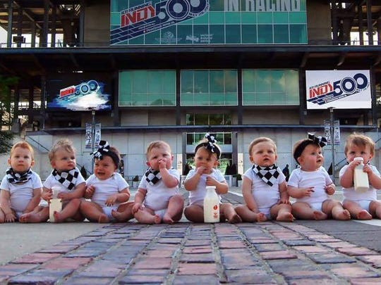 Close up photo of the eight babies at the Indianapolis Motor Speedway.