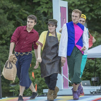 "Starring in the Delaware Shakespeare Festival's ""Comedy of Errors"" at Rockwood Park are, from left, foreground, Brendan Moser (Antipholus of Syracuse) and Sean Close (Dromio of Syracuse); background, Danielle Leneé (Adriana) and Savannah Jackson (Luciana)."