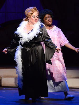 """Cassandra Norville Klaphake (left) as Miss Mona and Chanel Bragg as Jewel in Arizona Broadway Theatre's """"The Best Little Whorehouse in Texas."""""""
