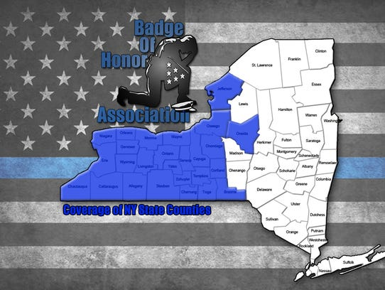 Badge of Honor Association NY Counties Coverage Map.
