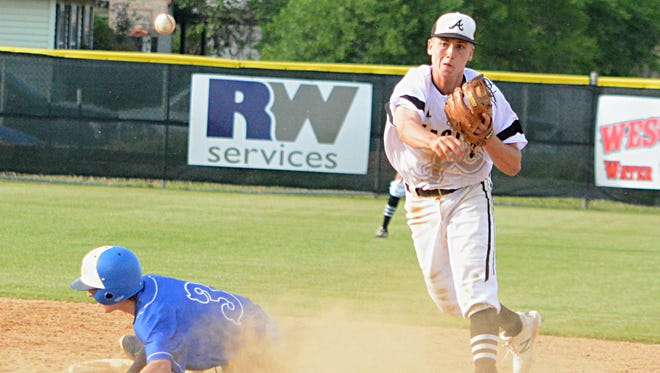 Abilene High shortstop Wes Berry completes a double play with a throw to first base during the Eagles' 8-3 victory over Weatherford on Friday at Blackburn Field.