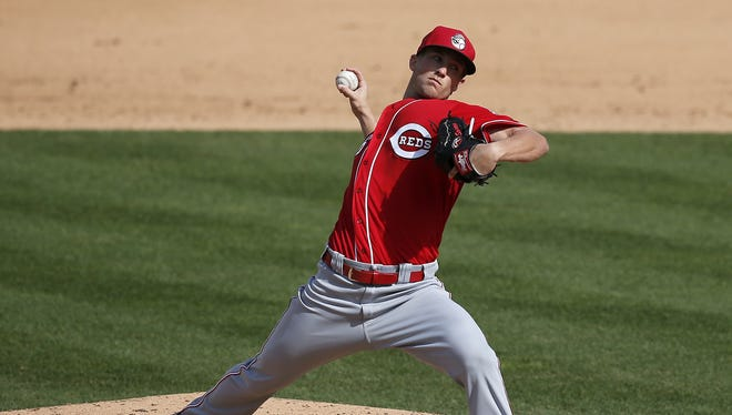 Cincinnati Reds relief pitcher Layne Somsen (86) delivers a pitch in the bottom of the seventh inning of the MLB preseason exhibition game between the Pittsburgh Pirates and the Cincinnati Reds at Victory Field in Indianapolis on Saturday, April 2, 2016.