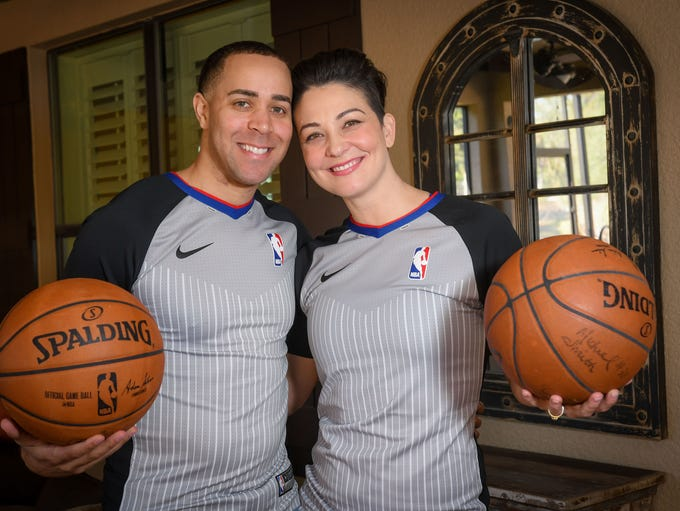 NBA referees Jon Sterling and Lauren Holtkamp.