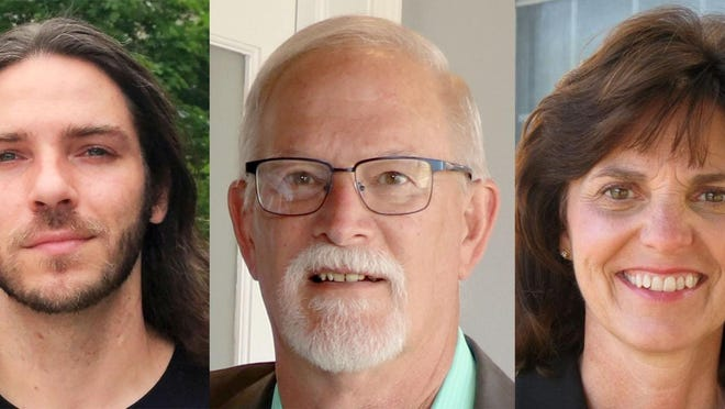 Running for the Illinois House of Representatives District 96 seat are, from left, Green Party candidate John Keating II, Republican Charlie McGorray, and incumbent Democrat Sue Scherer.