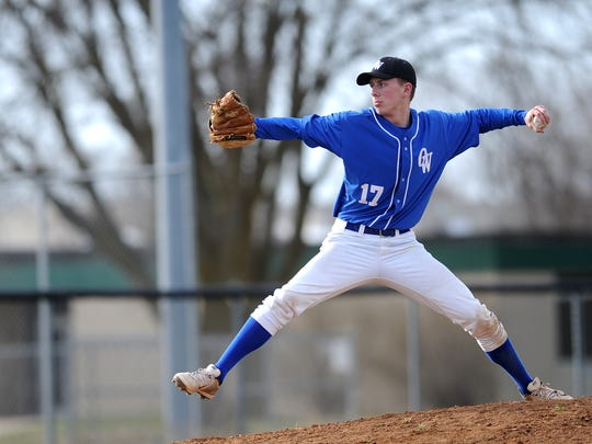 Oshkosh West's Jake Guenther unleashes a pitch against Fond du Lac in 2015.