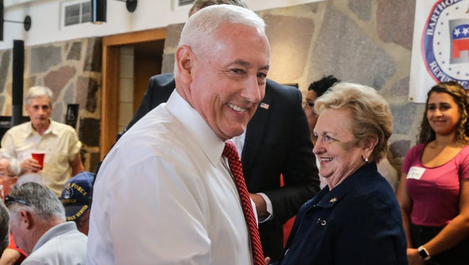 Congressional candidate Greg Pence, left, greets Bebette Parr, right, during the Bartholomew County Republican election night watch party hosted by the Central Committee in the Hamilton Community Center & Ice Arena Columbus, Ind., on Tuesday, May 8, 2018. Greg Pence is the brother of Vice President of the United States Mike Pence.